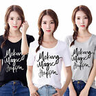 Women Short Sleeve Letter Printed Short T-shirt Summer Casual Cotton Blouse Tops
