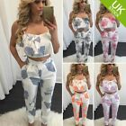 Women Floral Printed 2 Pcs Set Short top Pencil pants Jumpsuit Romper Playsuit