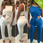 Women Sleeveless Bodycon Casual Crop Top 2Pcs Pants Set Jumpsuit Romper Playsuit