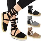 New Womens Ladies Espadrilles Lace Up Strappy Sandals Summer Holiday Shoes Size