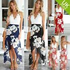Women Asymmetrical hem Boho Mid-Calf Lady Summer Beach Floral Lace Dress