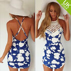 Summer Women's Club Cross Back Crochet Halter Floral Hollow Out Slim Party Dress