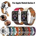 Genuine Leather Band Deployment Buckle Single Tour Strap for Apple Watch 4/3/2/1