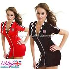 Ladies Race Racer Grid Girl F1 Pit Crew Sexy Fancy Dress Costume Outfit UK 8-12
