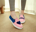 canvas Womens pull on Flat Canvas Preppy Style Korean Students Shoes Casual