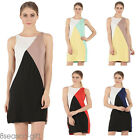 2017 New Women Crewneck Splicing Sleeveless Summer Mini Dress Party Casual Dress