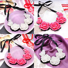 Gorgeous & Sparkly Full AB Crystal Statement Chunky Flower Necklace For Women