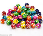 Wholesale Lots HX Mixed Dyed Dot Round Wood Spacer Beads 10x9mm