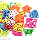 Wholesale Lots HX Wood Charm Pendants Hollow Square Flower Mixed