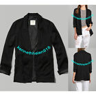 NWT ABERCROMBIE & FITCH WOMENS LARISSA BLAZER JACKET COAT BLACK SIZE MEDIUM A&F