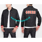 NWT LEVIS MENS 49ERS DENIM VARSITY TRUCKER JACKET COAT BLACK SIZE M,L
