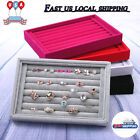 Ring Earring Jewelry Display Show Case Organizer Box Tray Showcase Holder US