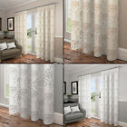 EMBROIDERED FLORAL LINED VOILE READY MADE CURTAINS WHITE CREAM SILVER GOLD