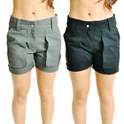 Ladies Womens Military Style Shorts Summer Half Pants - Black & Grey NEW
