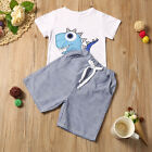 Toddler Kid Baby Boy Summer T-shirt Tops+Striped Short Pants Outfits Clothes Set