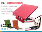 "BKB Genuine Lambskin Leather Protective Cases for the new MacBook 12"" with Stand"