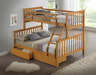 Beech/White Three Sleeper Kids Bunk Bed - Drawers Available