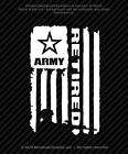 Distressed Army Retired Flag Vinyl Decal Military Window Sticker - 4 Sizes