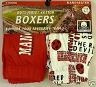 BOYS MANCHESTER UNITED BOXER SHORTS 100% JERSEY COTTON - 2 PACK AGE 3 - 14 - NEW