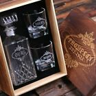 Personalised Scotch Whisky Decanter w/ 2 Whiskey Glasses Monogrammed Customised