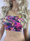 BOOB TUBE TOP Paint Splatter Strapless BANDEAU Club LYCRA Party Graffiti Rave F2