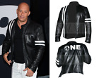 Men's Vin Diesel The Fate of the Furious Premier Black Real Leather Racer Jacket
