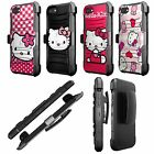 For [ iPhone Devices] Armor Holster Case with Kickstand Hello Kitty