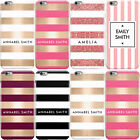 DYEFOR PERSONALISED NAME/INITIALS/TEXT STRIPE PHONE CASE COVER FOR APPLE IPHONE