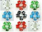 5x Silver Foil 5 Colors Cube Square Murano Lampwork Bead European Jewelry USA