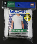GILDAN MEN'S WHITE V-NECK T-SHIRTS - 3-PACK - S M L XL - NEW IN ORIG. PACKAGING image