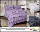 Luxury 4Pc Ruffles Complete Duvet Cover Set With Fitted Sheet & Pillowcase