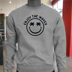 ENJOY THE WAVES SMILEY FACE SURFING BLACK BEACH Mens Gray Sweatshirt