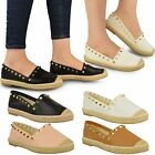Womens Ladies Studded Espadrilles Slip On Flats Summer Shoes Casual Pumps Size
