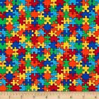 AUTISM AWARENESS KIDS NOVELTY CRAFT SEWING FABRIC QUILT FREE OZ POST *