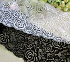 15.5 cm width Pretty White / Black Stretch Lace Trim