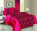 RED 5PCS FRILLED FLOCK QUILTED BED SPREAD FRILLED PILLOW CASES CUSHION COVERS