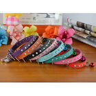 Diamante with Bell Pet Dog Cat Collar Rhinestone Bling PU Leather