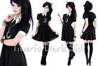 Restyle Crescent Moon Embroidery White Collar Black Nu Goth Occult Shirt Dress
