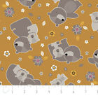 MAMA & ME BEAR BABY CAMELOT MUSTARD NOVELTY QUILT SEWING FABRIC Free Oz Post