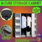 16 DIY Cube Storage Cabinet Shelf Display Unit with Hanging Bars Clothes