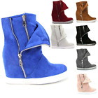 New Ladies Womens Hidden Wedge Sneakers Ankle Boots Shoes Hi High Top Size uk