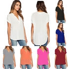 Womens Blouse Chiffon Short Sleeve T Shirt Ladies Summer Holiday Loose Tops Tee