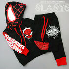2PCS Toddler Kids Baby Boys Spiderman hooded coat+Pants Set Kids Clothes set
