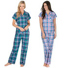 Womans 2 Piece Pyjama Set Ladies Short Sleeve Top Long Bottoms Checked SleepSuit