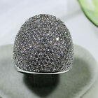 18K White Gold Filled CZ Women Fashion Jewelry Luxury Wide Ring R6594 Size 5 10