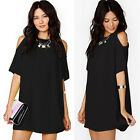Women's Summer Party Chiffon Cold Shoulder Tops Dress Clothes Plus Size Blouse