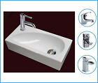 Left Hand Compact Small Square Wall Hung Cloakroom Ceramic Basin Sink 400mm tap