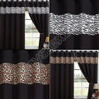 PAIR OF LEOPARD ZEBRA ANIMAL PRINT RING TOP EYELET THERMAL BLACKOUT CURTAINS