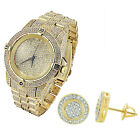 14k Gold Plate Watch Earrings Gift Set Iced Out Simulated Diamonds Hip Hop Bling