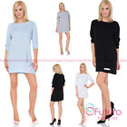 Women's Crew Neck Mini Loose Fit Oversized Tunic Dress With  Fancy Bows FT2983